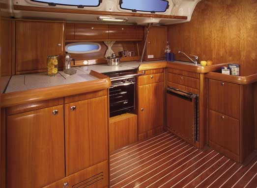 View of Bavaria 46 Cruiser. Possible variations in details